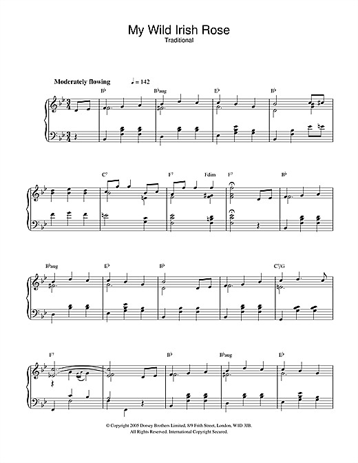 Download Traditional 'My Wild Irish Rose' Digital Sheet Music Notes & Chords and start playing in minutes