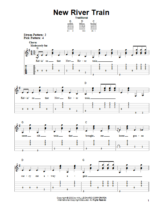 Traditional New River Train sheet music preview music notes and score for Guitar Tab including 2 page(s)