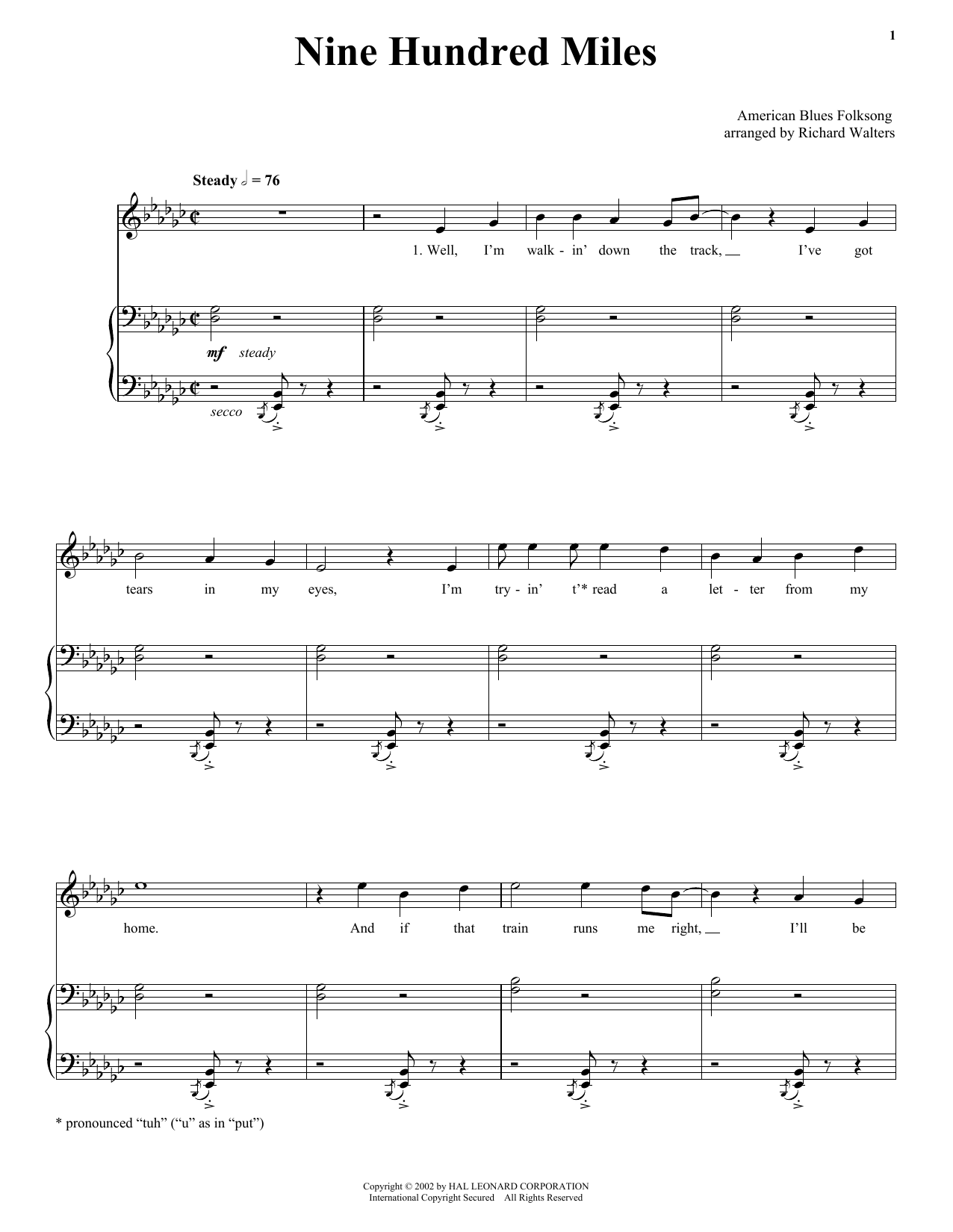 Traditional Nine Hundred Miles sheet music notes and chords