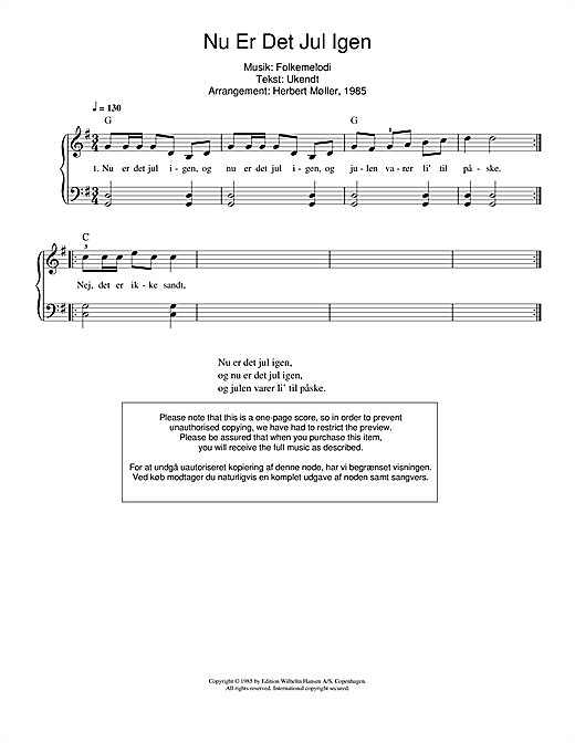 Download Traditional 'Nu Er Det Jul Igen' Digital Sheet Music Notes & Chords and start playing in minutes