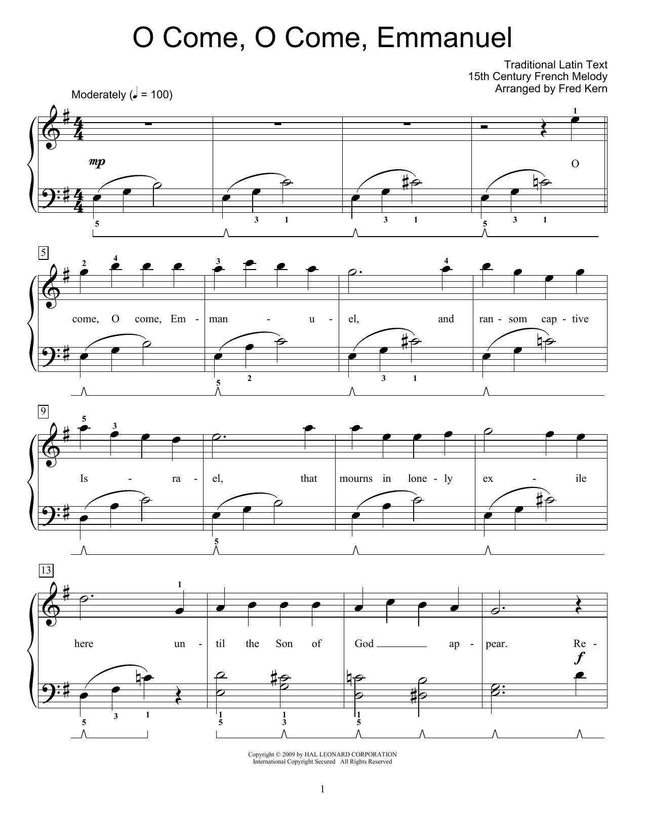 Traditional O Come, O Come Emmanuel sheet music preview music notes and score for Easy Piano including 3 page(s)
