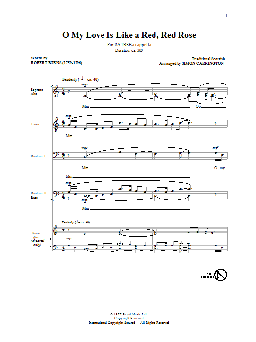 Traditional O My Love Is Like A Red, Red Rose (arr. Simon Carrington) sheet music preview music notes and score for SATB including 6 page(s)