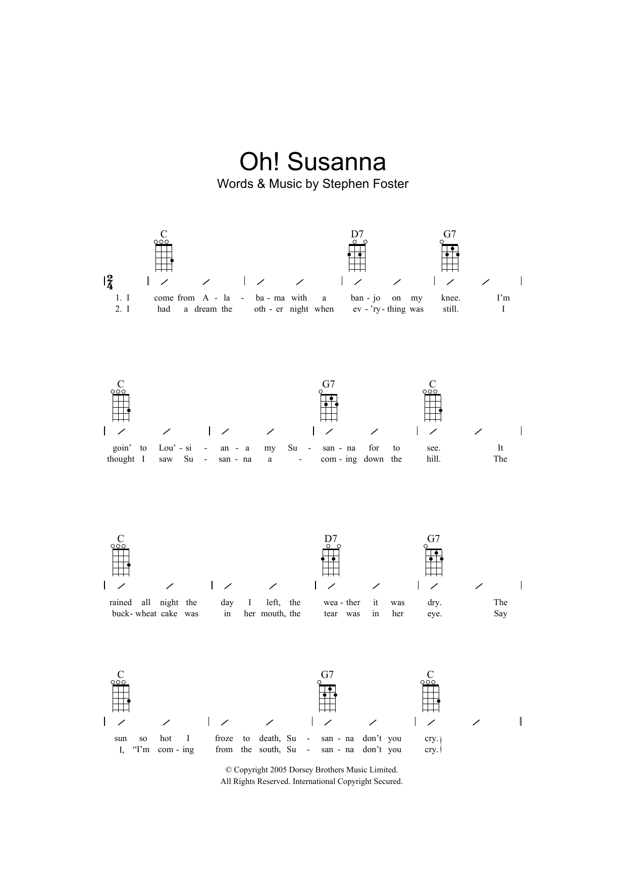 Traditional Oh! Susanna sheet music preview music notes and score for Ukulele with strumming patterns including 2 page(s)