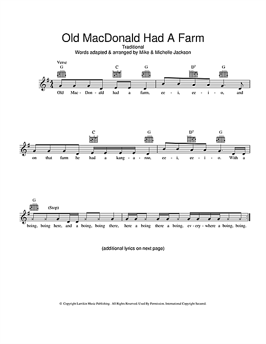 Traditional Old MacDonald Had A Farm (Australian version) sheet music preview music notes and score for Melody Line, Lyrics & Chords including 2 page(s)