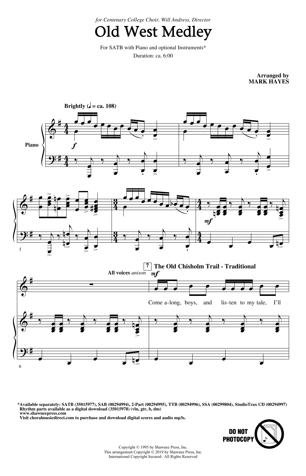 Download Traditional 'Old West Medley (arr. Mark Hayes)' Digital Sheet Music Notes & Chords and start playing in minutes
