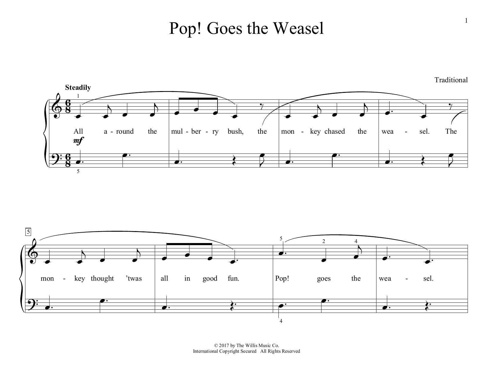 Traditional Pop! Goes The Weasel (arr. Christopher Hussey) sheet music preview music notes and score for Educational Piano including 2 page(s)