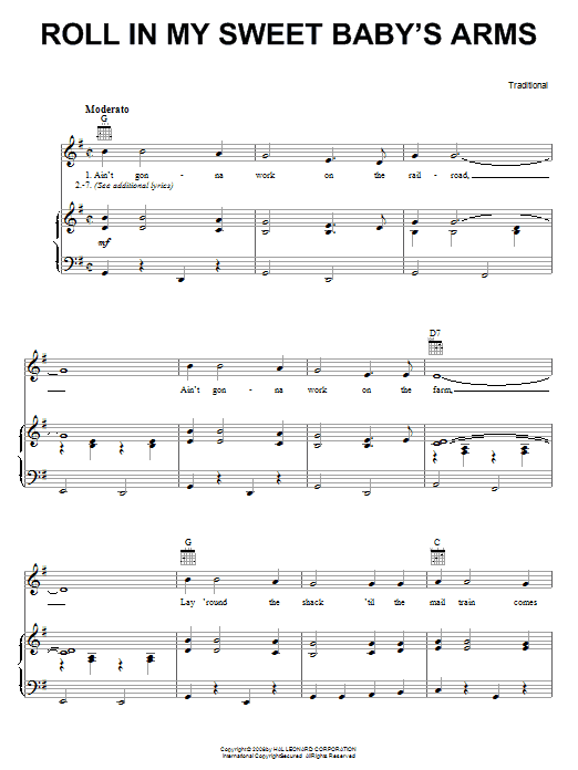 Traditional Roll In My Sweet Baby's Arms sheet music preview music notes and score for Guitar Tab including 2 page(s)