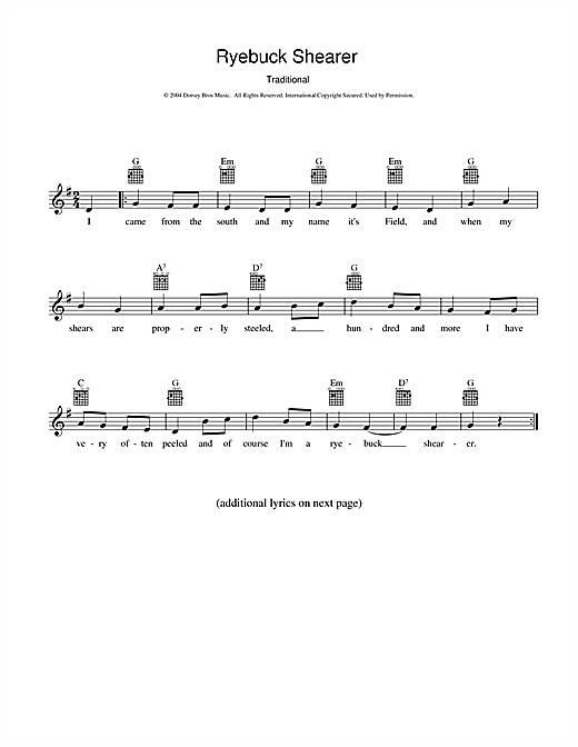 Traditional Ryebuck Shearer sheet music preview music notes and score for Melody Line, Lyrics & Chords including 2 page(s)