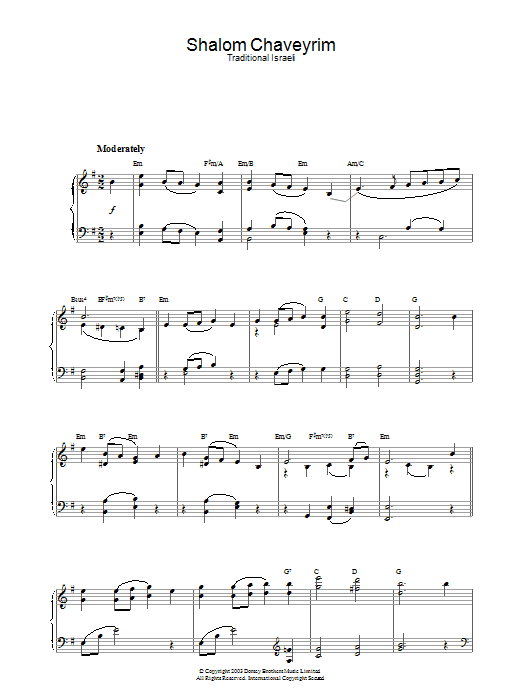 Traditional Shalom Chaveyrim sheet music preview music notes and score for Piano including 2 page(s)