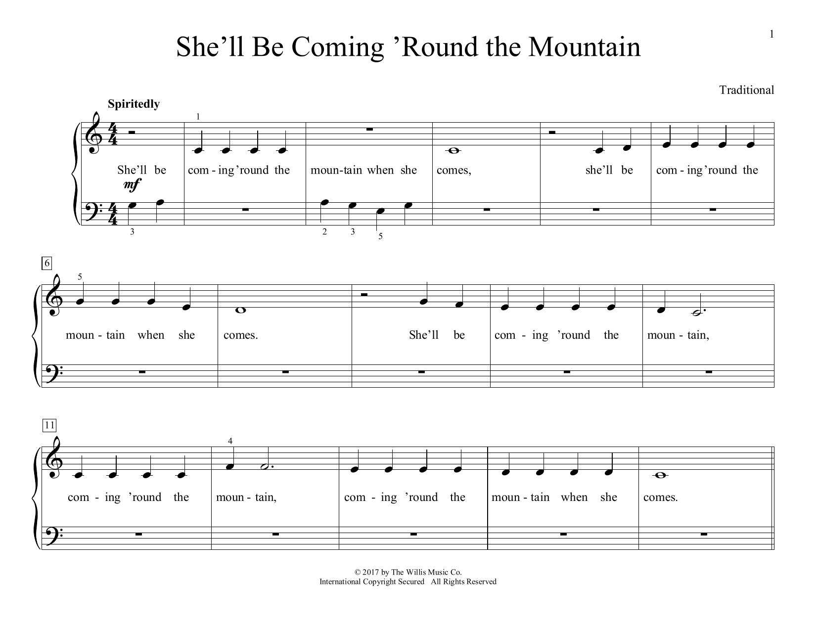 Traditional She'll Be Coming 'Round The Mountain (arr. Christopher Hussey) sheet music preview music notes and score for Educational Piano including 2 page(s)