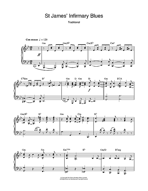 Traditional St James' Infirmary Blues sheet music notes and chords