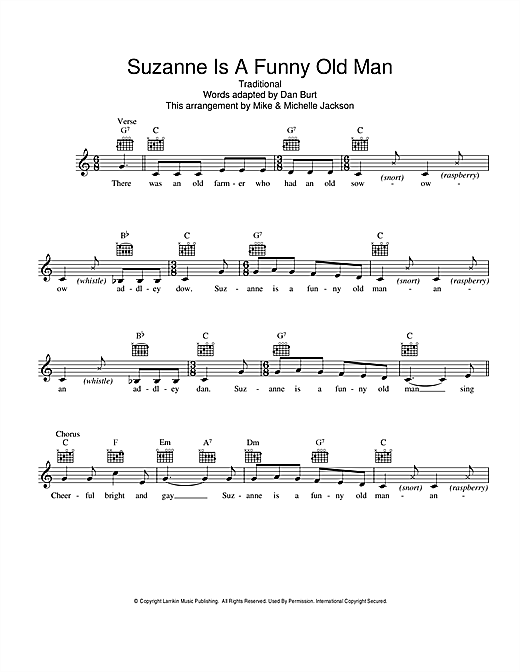 Traditional Suzanne Is A Funny Old Man sheet music preview music notes and score for Melody Line, Lyrics & Chords including 2 page(s)