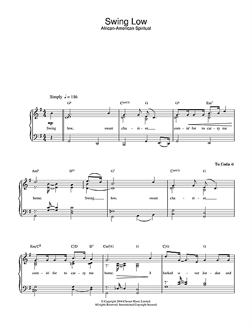 Traditional Swing Low, Sweet Chariot sheet music preview music notes and score for Piano & Vocal including 2 page(s)