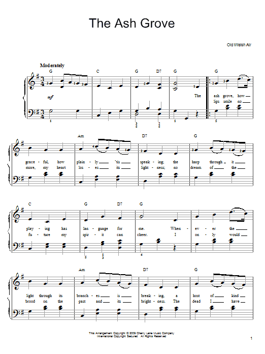 Traditional The Ash Grove sheet music preview music notes and score for Piano, Vocal & Guitar (Right-Hand Melody) including 4 page(s)
