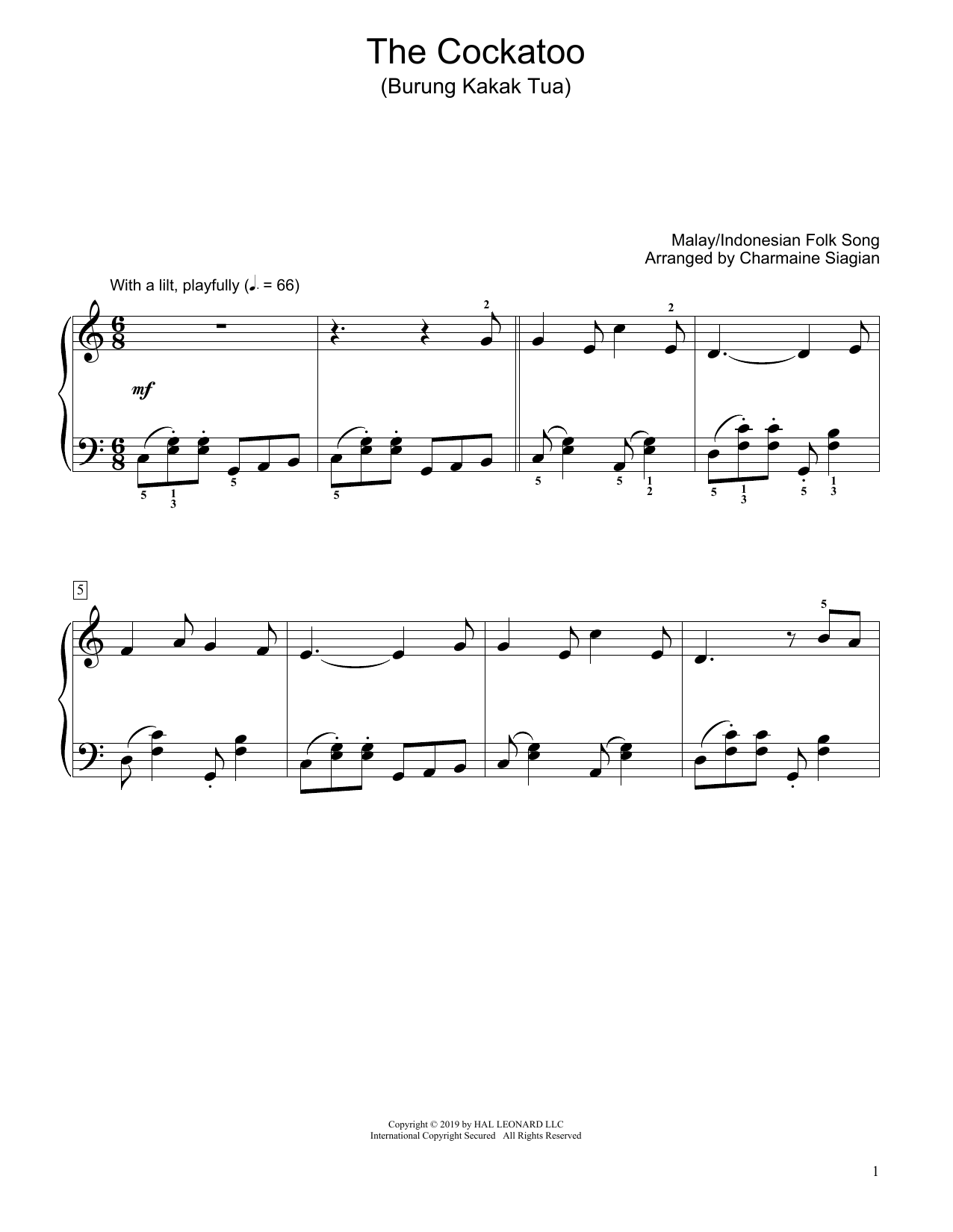 Traditional The Cockatoo (Burung Kakak Tua) (arr. Charmaine Siagian) sheet music preview music notes and score for Educational Piano including 3 page(s)