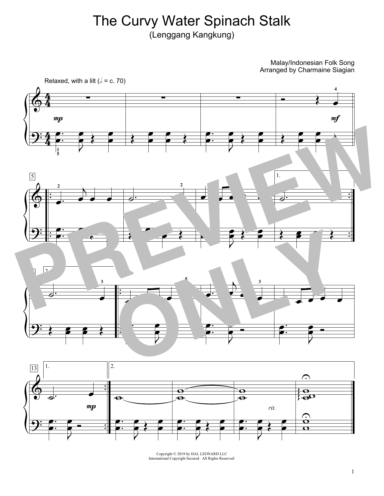 Traditional The Curvy Water Spinach Stalk (Lenggang Kangkung) (arr. Charmaine Siagian) sheet music preview music notes and score for Educational Piano including 1 page(s)