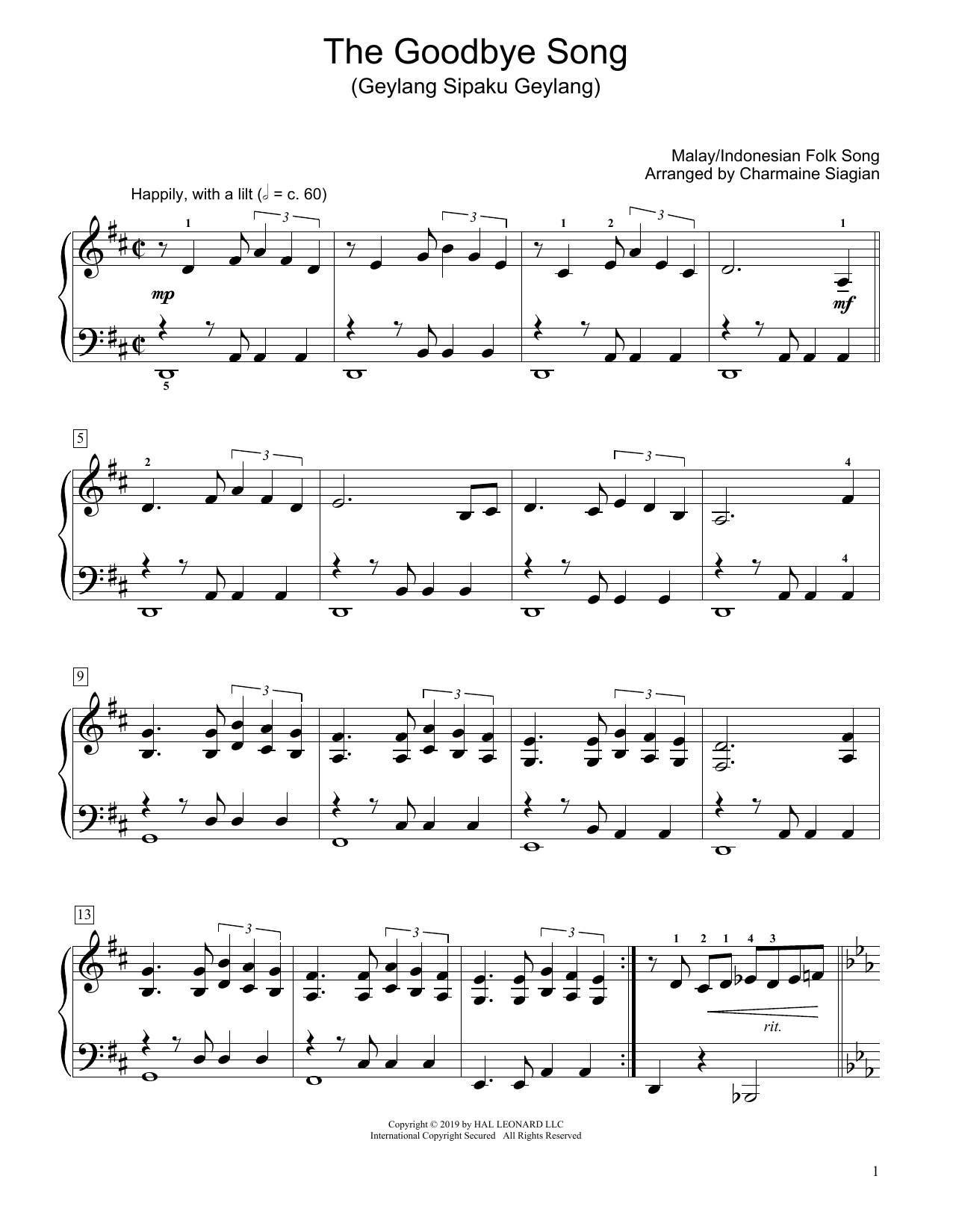 Traditional The Goodbye Song (Geylang Sipaku Geylang) (arr. Charmaine Siagian) sheet music preview music notes and score for Educational Piano including 2 page(s)
