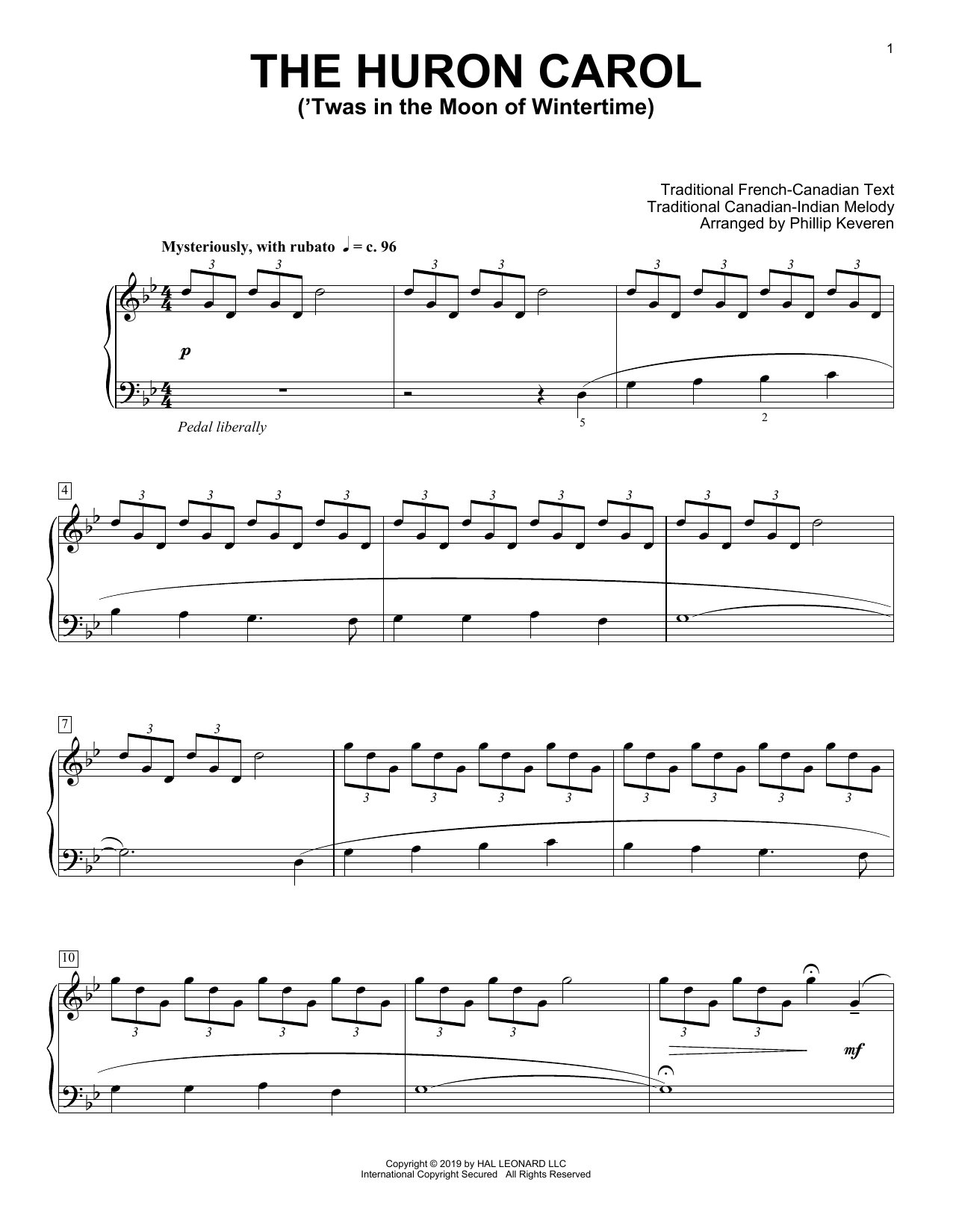 Traditional The Huron Carol ('Twas In The Moon Of Wintertime) [Classical version] (arr. Phillip Keveren) sheet music preview music notes and score for Piano Solo including 3 page(s)