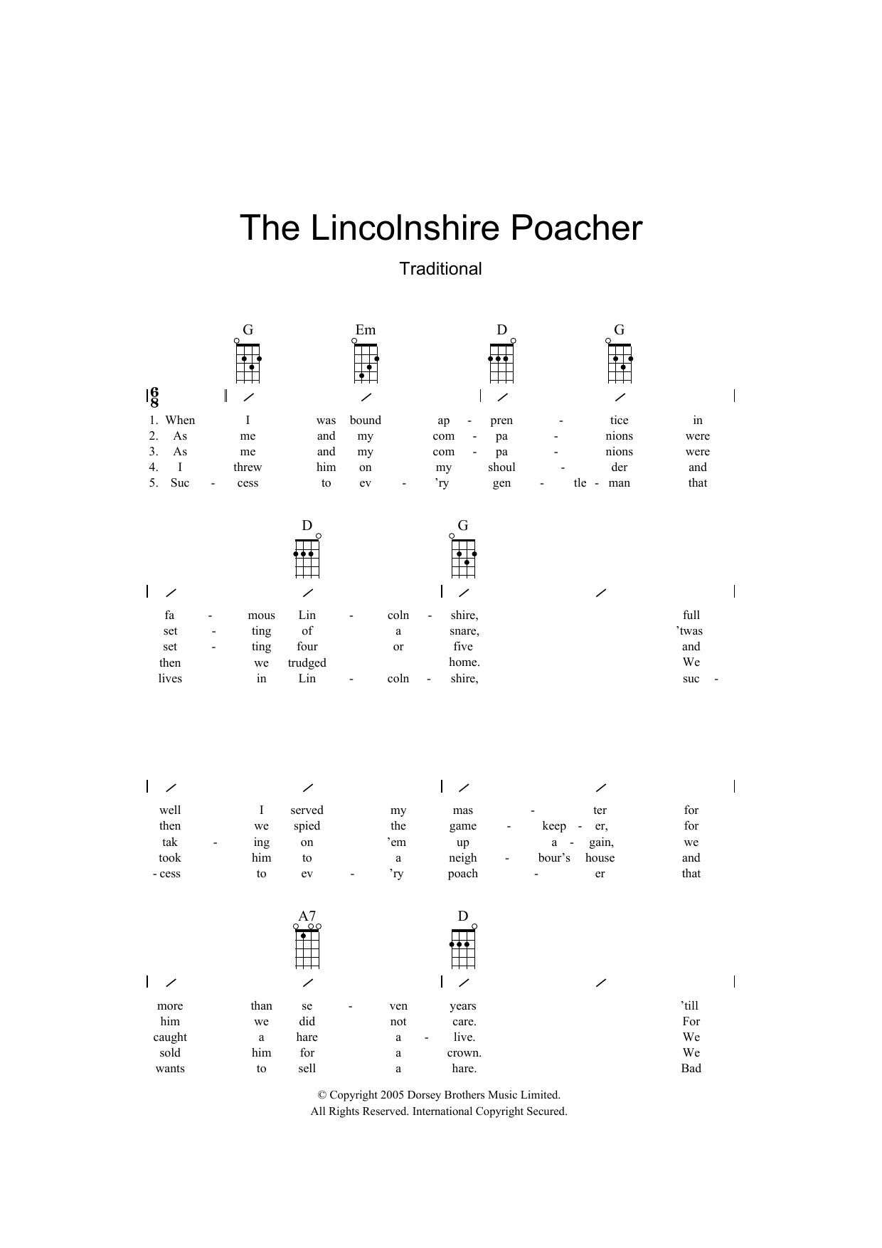 Traditional The Lincolnshire Poacher sheet music preview music notes and score for Ukulele with strumming patterns including 2 page(s)