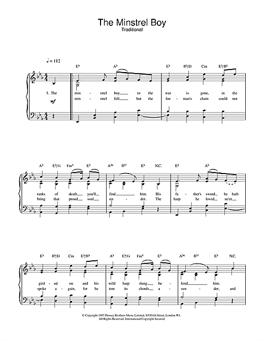 Download Traditional 'The Minstrel Boy' Digital Sheet Music Notes & Chords and start playing in minutes