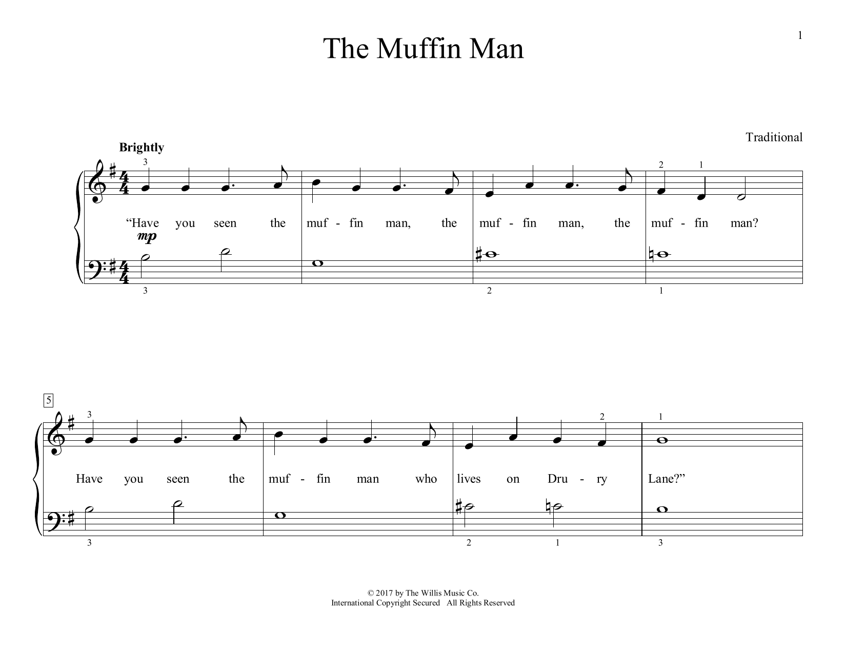 Traditional The Muffin Man (arr. Christopher Hussey) sheet music preview music notes and score for Educational Piano including 2 page(s)
