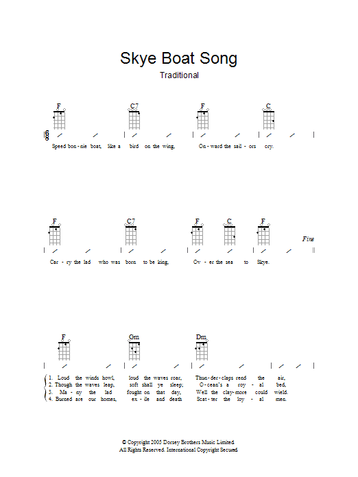 Traditional The Skye Boat Song sheet music preview music notes and score for Ukulele with strumming patterns including 2 page(s)
