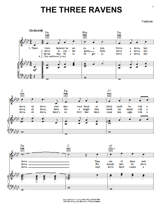 Traditional The Three Ravens sheet music preview music notes and score for Piano, Vocal & Guitar (Right-Hand Melody) including 2 page(s)