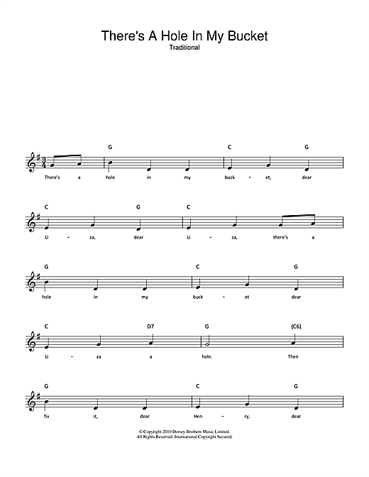 Traditional There's A Hole In My Bucket sheet music notes and chords