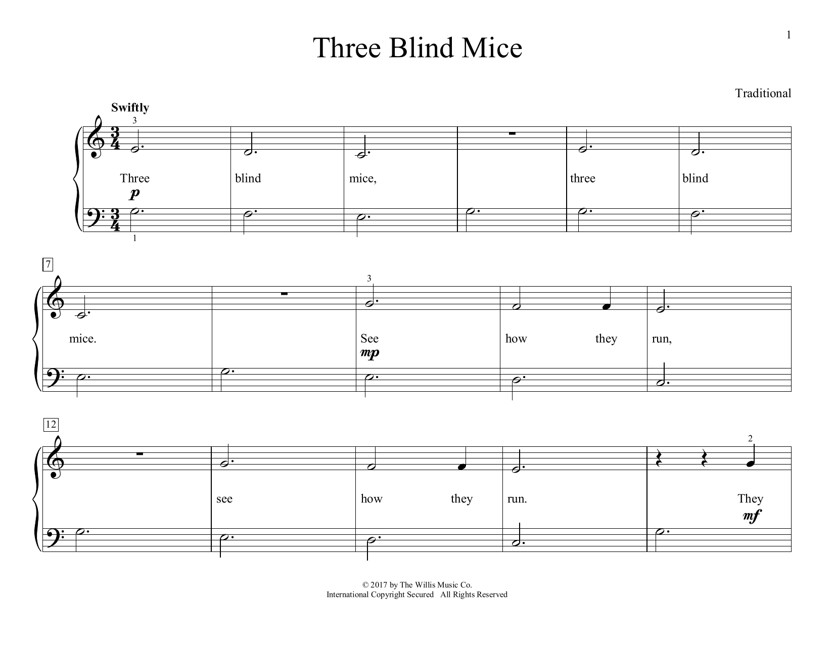 Traditional Three Blind Mice (arr. Christopher Hussey) sheet music preview music notes and score for Educational Piano including 2 page(s)