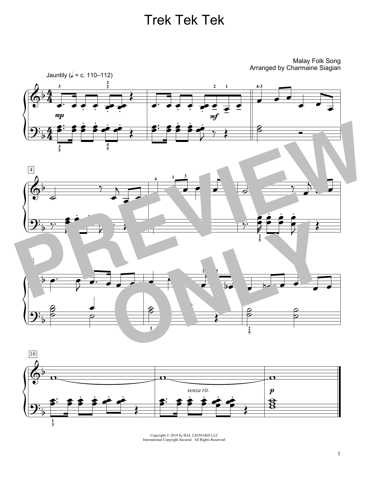 Traditional Trek Tek Tek (arr. Charmaine Siagian) sheet music preview music notes and score for Educational Piano including 1 page(s)