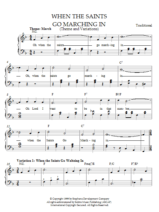 Traditional When The Saints Go Marching In (Theme and Variations) sheet music preview music notes and score for Easy Piano including 3 page(s)