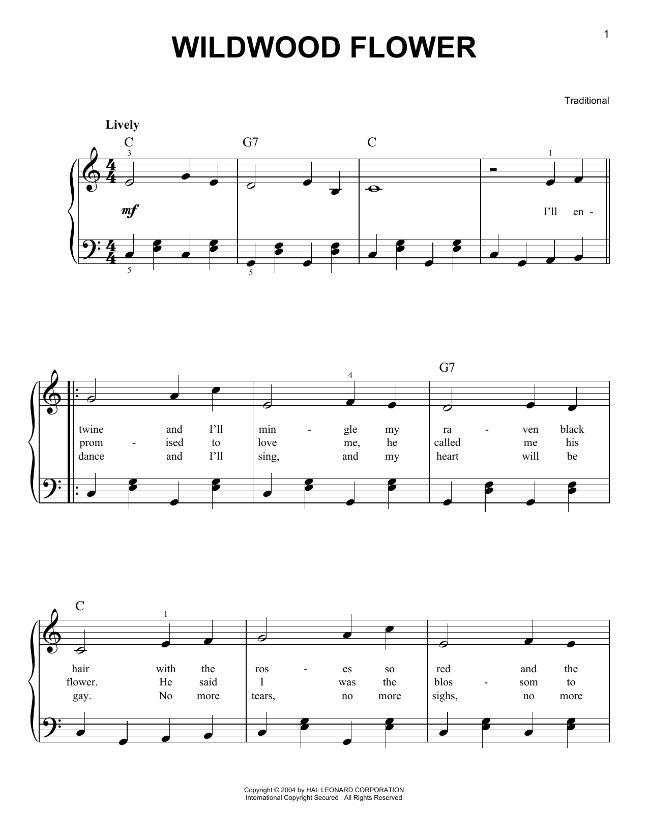 Traditional Wildwood Flower sheet music preview music notes and score for Easy Piano including 2 page(s)