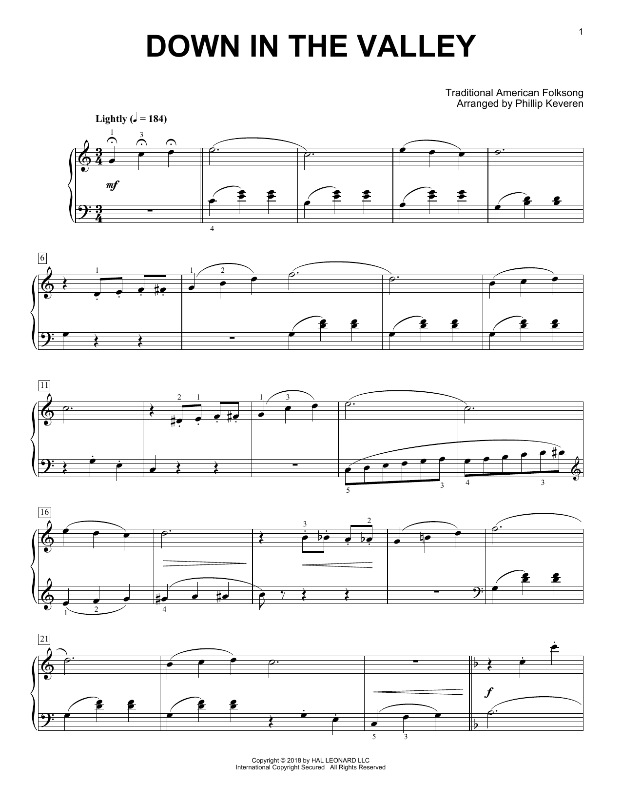 Download Phillip Keveren 'Down In The Valley' Digital Sheet Music Notes & Chords and start playing in minutes