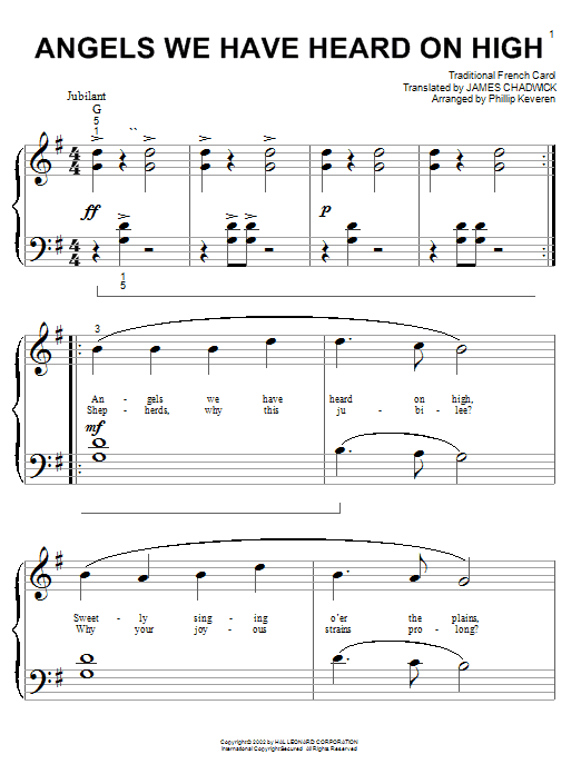 Download Traditional Carol 'Angels We Have Heard On High' Digital Sheet Music Notes & Chords and start playing in minutes