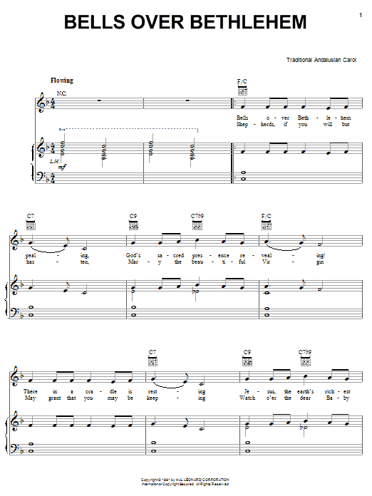 Traditional Carol Bells Over Bethlehem sheet music notes and chords