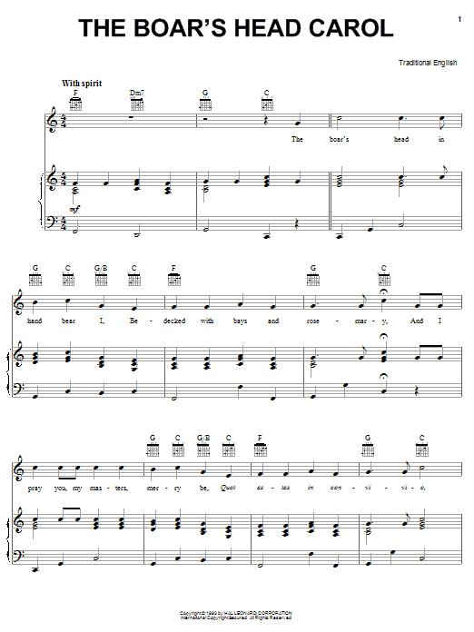 Traditional Carol Boars Head Carol sheet music notes and chords