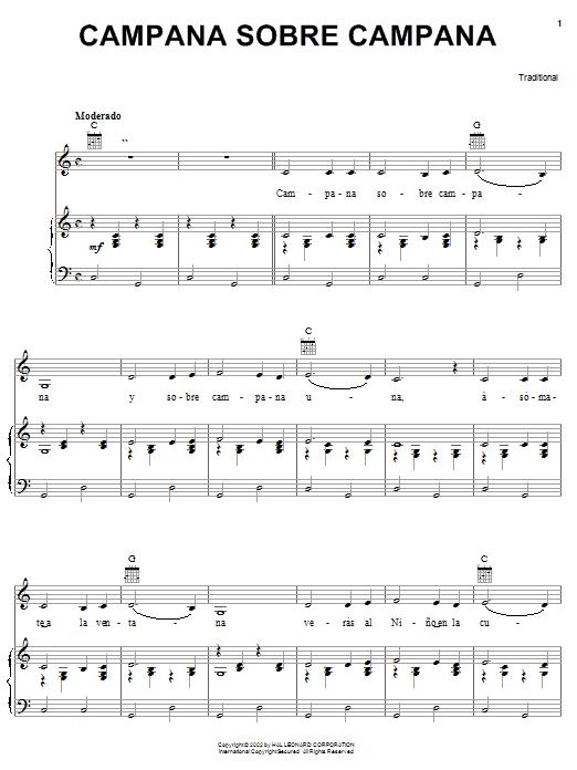 Traditional Carol Campana Sobre Campana sheet music notes and chords