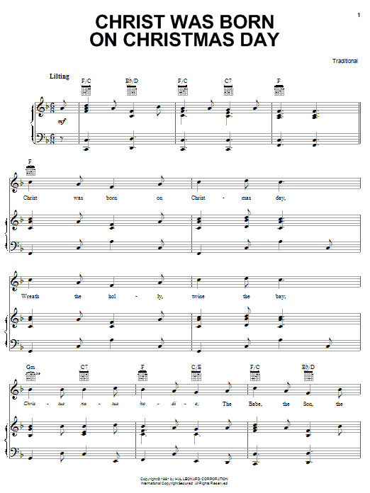 Traditional Carol Christ Was Born On Christmas Day sheet music notes and chords