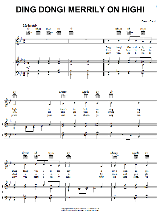 Traditional Carol Ding Dong! Merrily On High! sheet music notes and chords