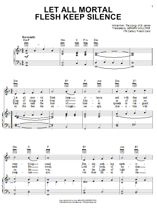 Download Traditional Carol 'Let All Mortal Flesh Keep Silence' Digital Sheet Music Notes & Chords and start playing in minutes