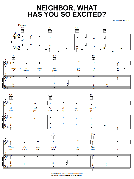Traditional Carol Neighbor, What Has You So Excited? sheet music notes and chords