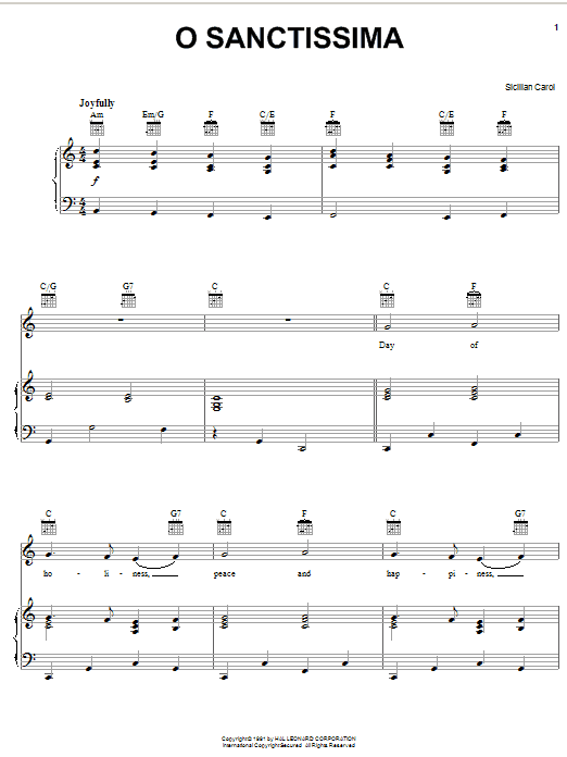 Traditional Carol O Sanctissima sheet music notes and chords