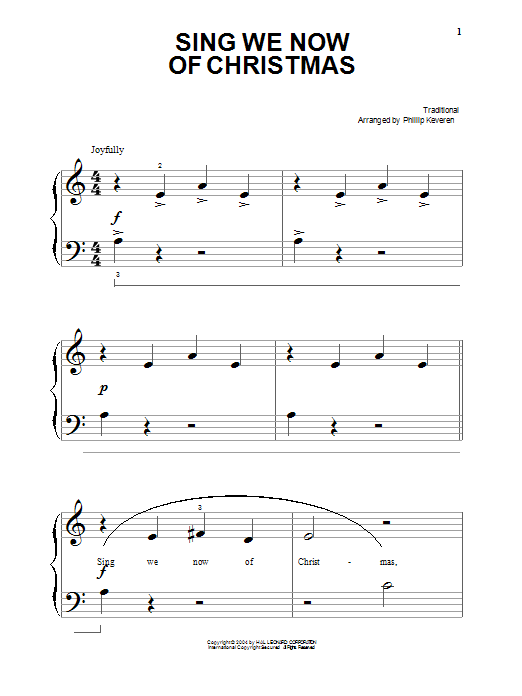 Traditional Carol Sing We Now Of Christmas sheet music preview music notes and score for Piano including 3 page(s)