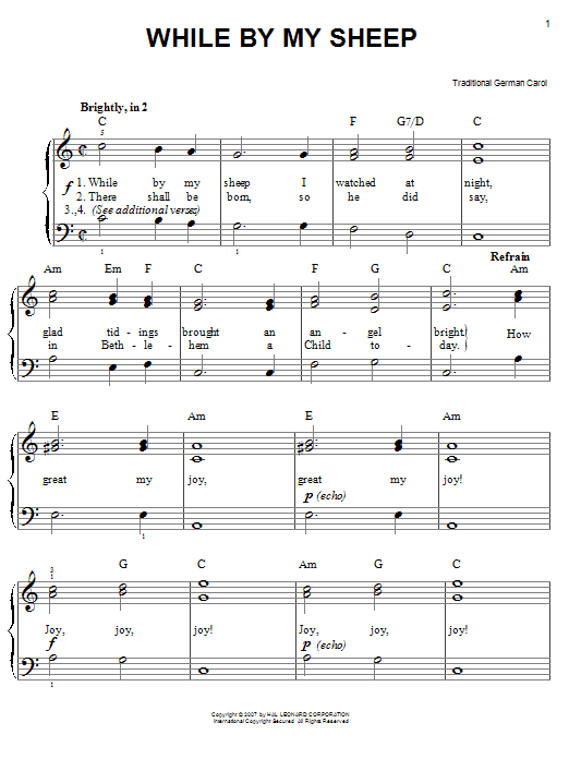 Traditional Carol While By My Sheep sheet music preview music notes and score for Easy Piano including 2 page(s)