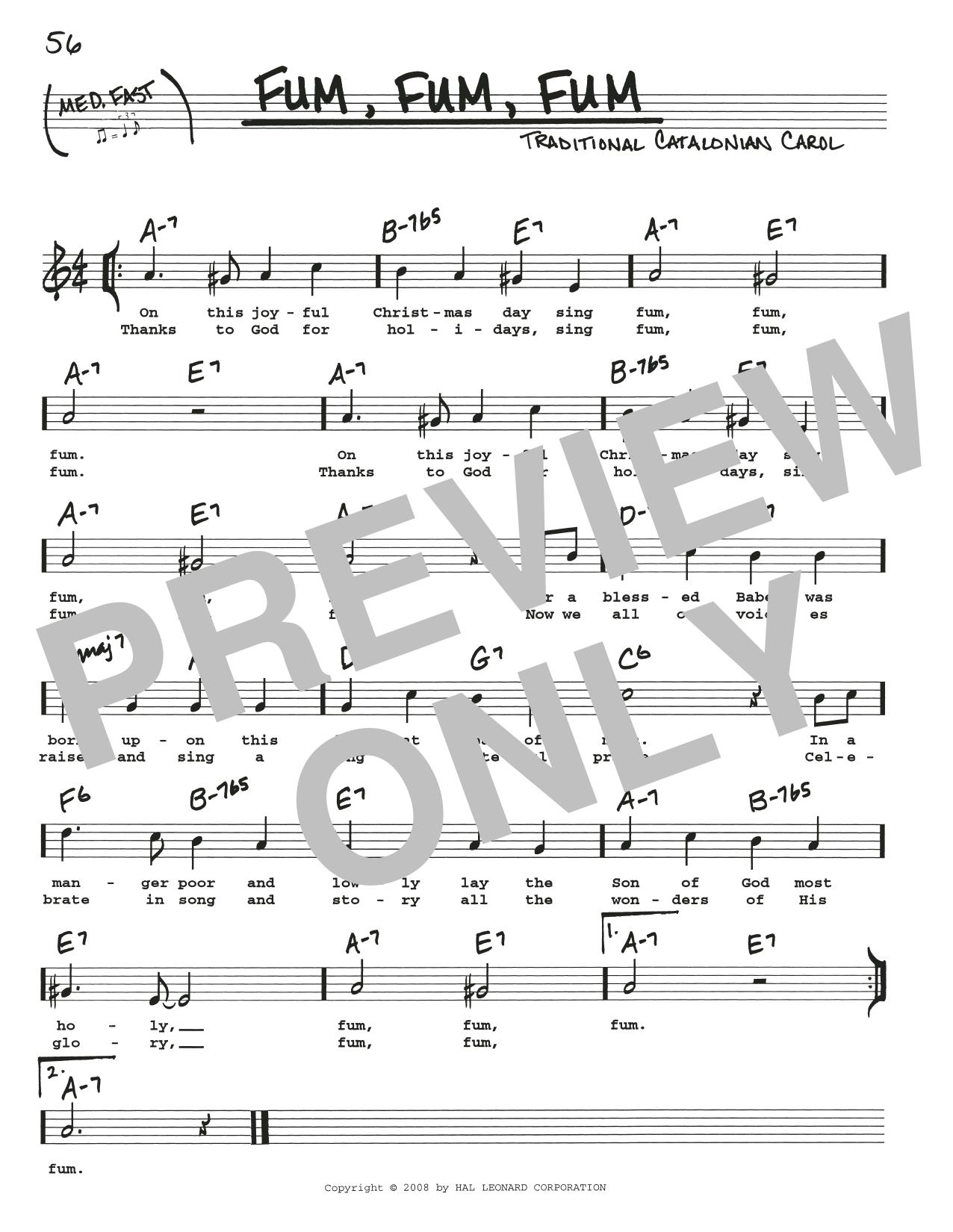 Traditional Carol Fum, Fum, Fum sheet music notes and chords