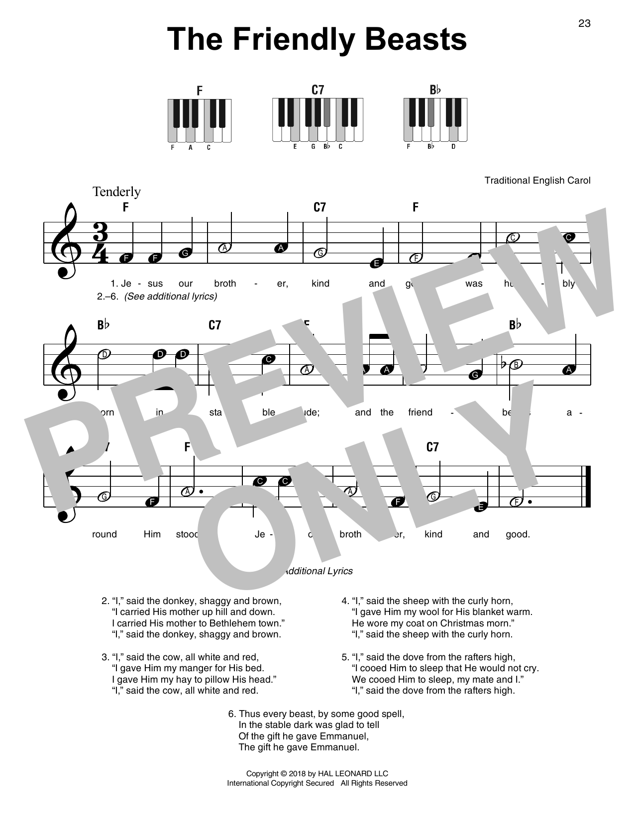 Traditional Carol The Friendly Beasts sheet music notes and chords