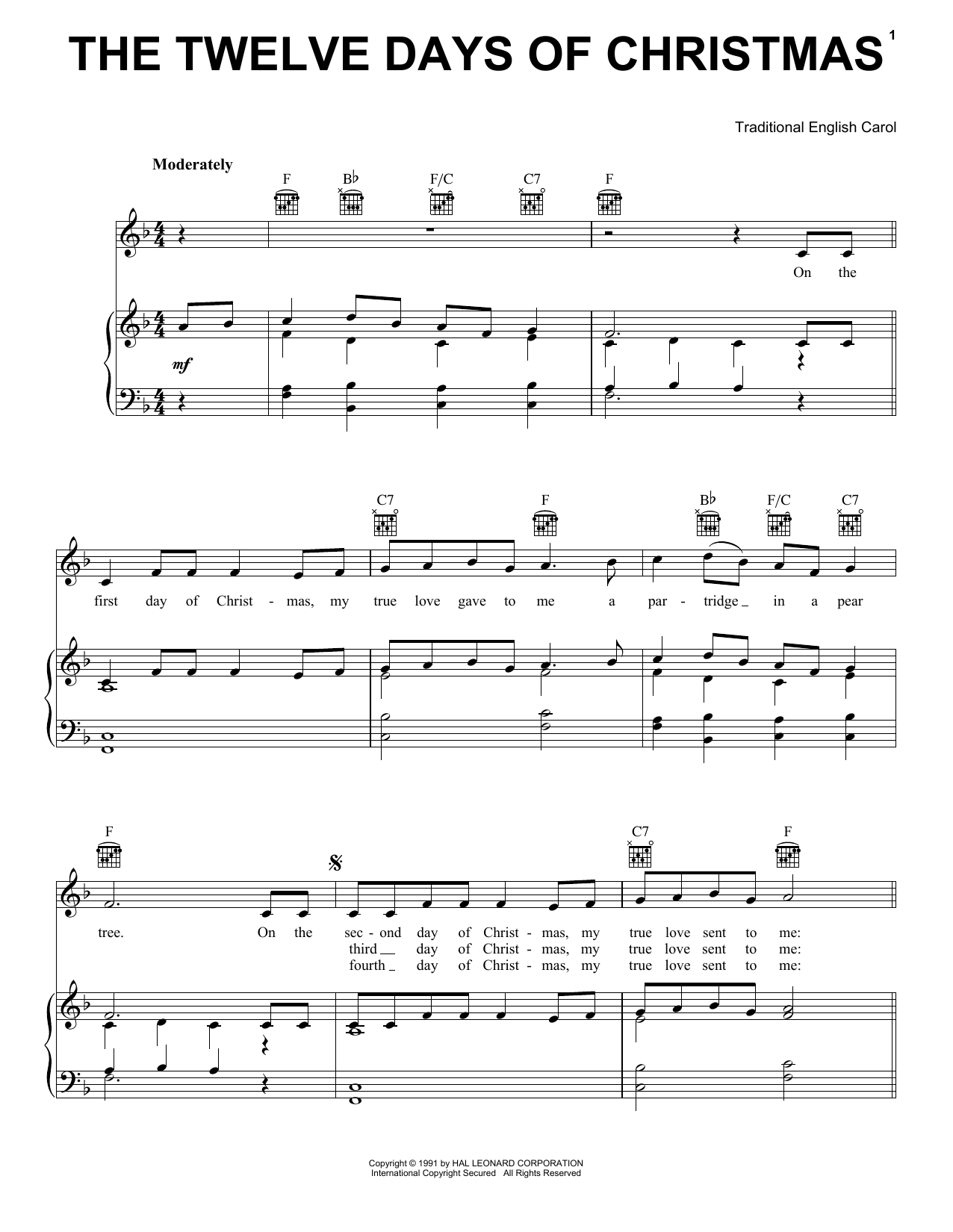 Traditional English Carol The Twelve Days Of Christmas sheet music preview music notes and score for Guitar Tab including 3 page(s)
