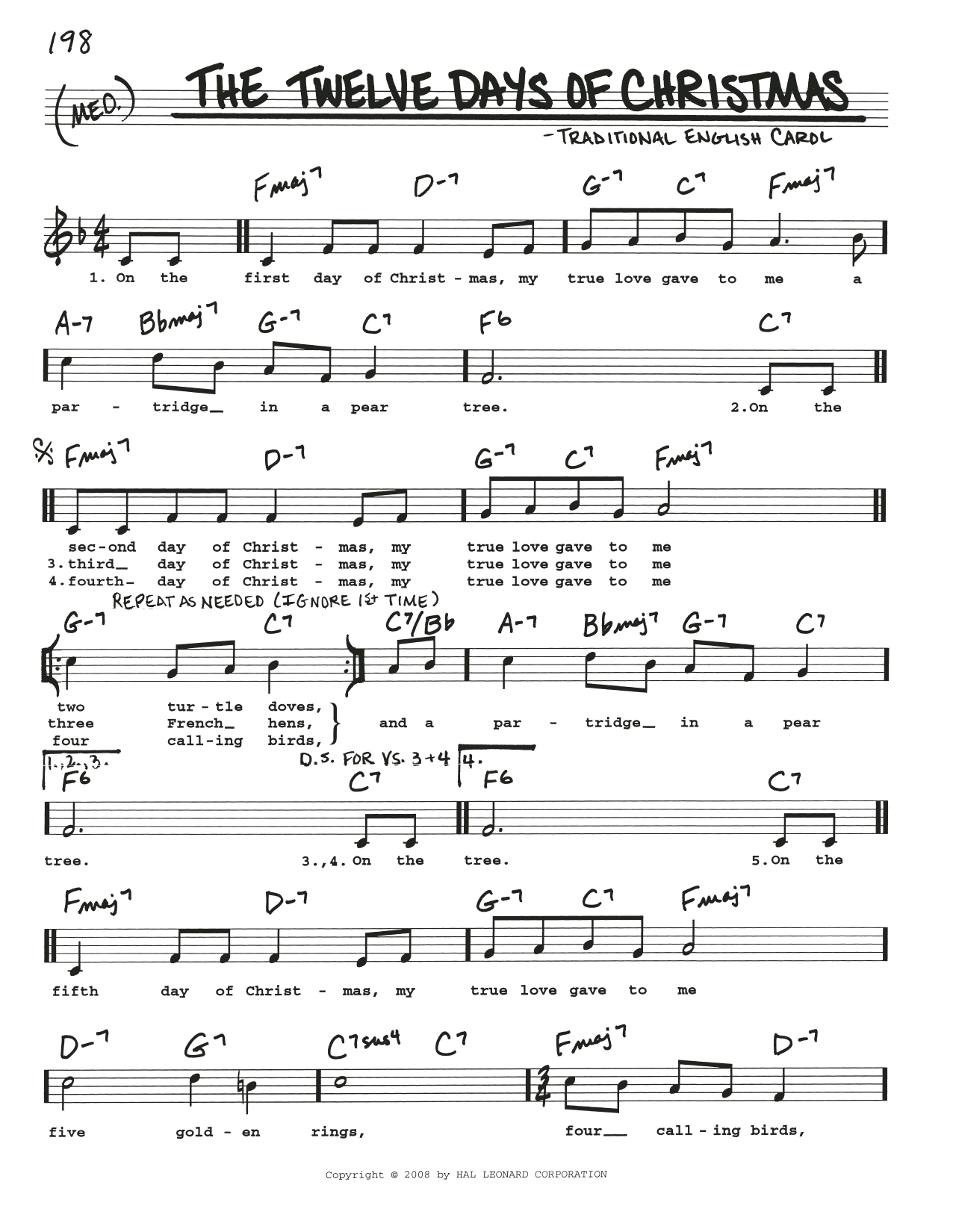 Traditional Carol The Twelve Days Of Christmas sheet music preview music notes and score for Piano, Vocal & Guitar (Right-Hand Melody) including 3 page(s)