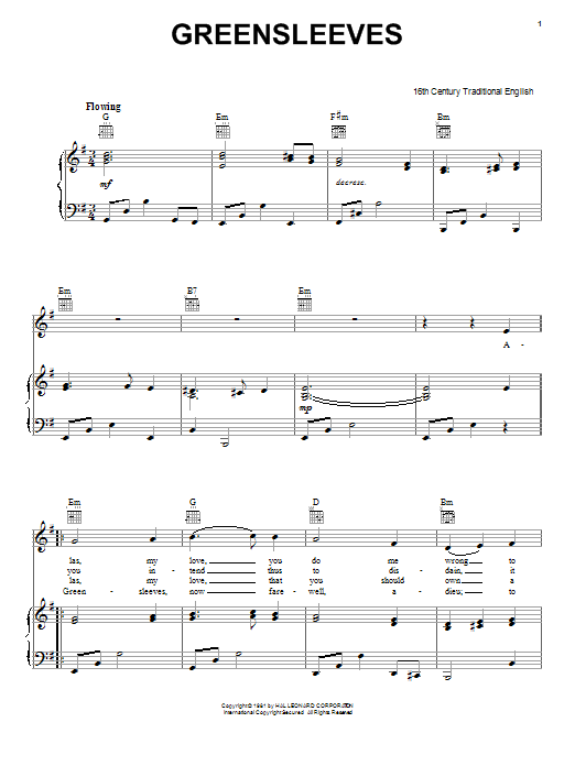 Download Traditional English Folksong 'Greensleeves' Digital Sheet Music Notes & Chords and start playing in minutes