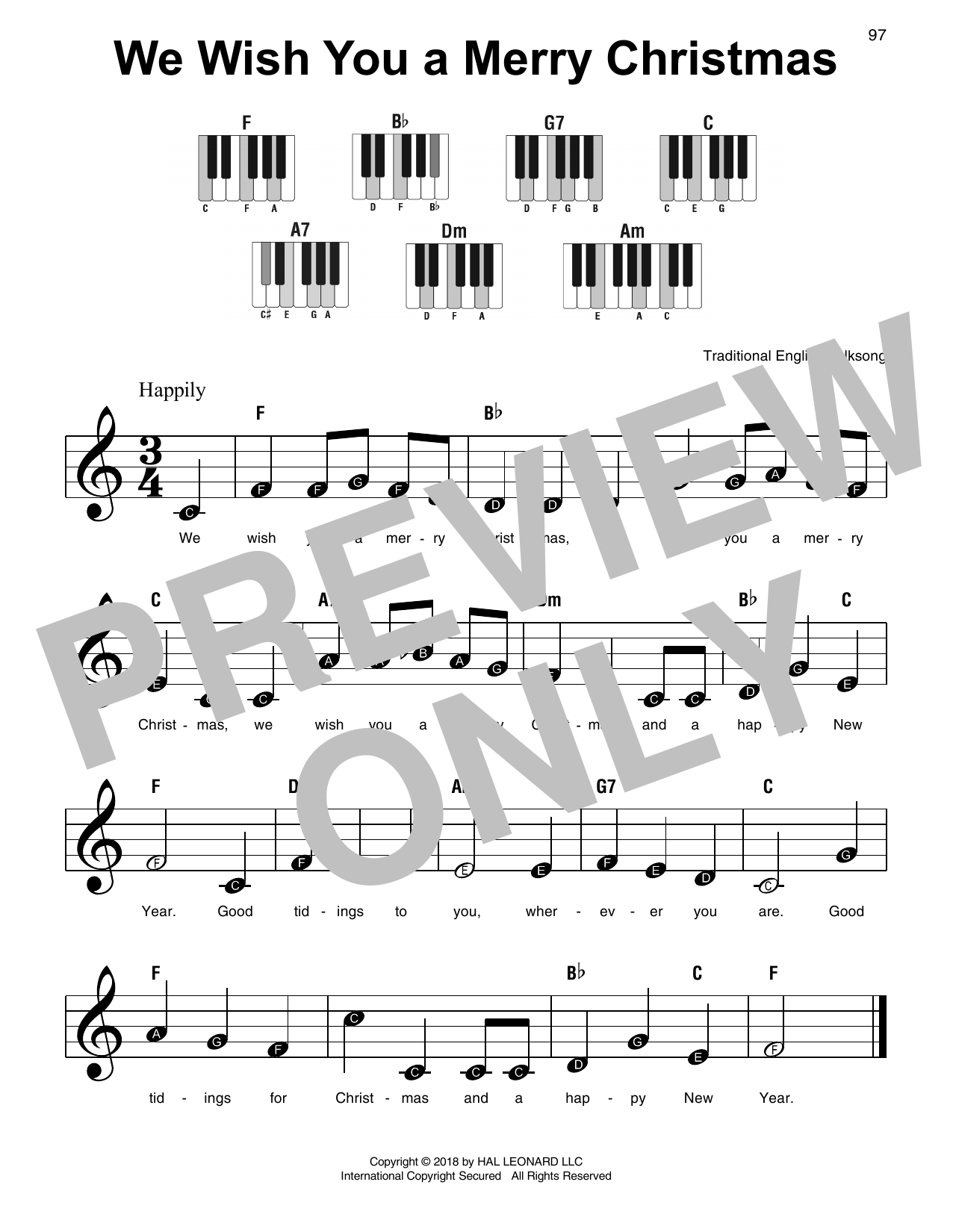 Christmas Carol We Wish You A Merry Christmas sheet music notes and chords